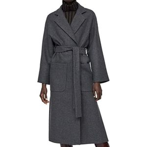 NWT Zara Women Double-Breasted Belted Wool Coat